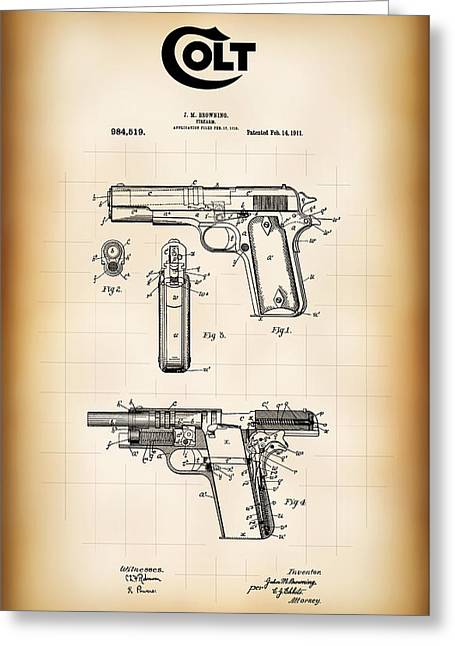 Browning Colt 45 Model 1911 Patent Greeting Card