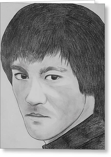 Bruce Lee Realistic Pencil Sketch Greeting Card by Sketches In
