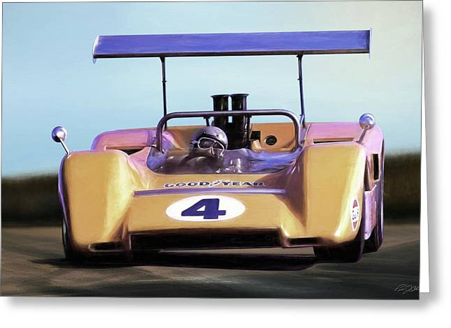 Greeting Card featuring the digital art Bruce Mclaren M8b by Peter Chilelli