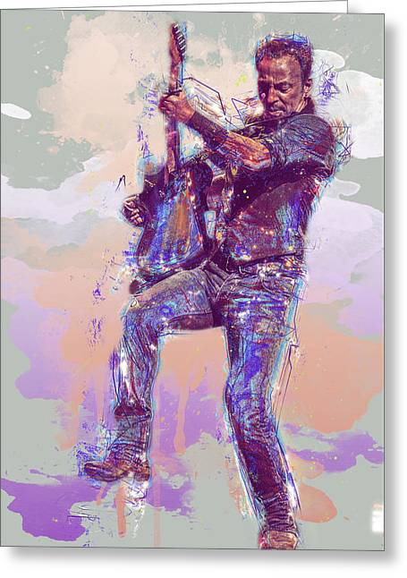 Bruce Springsteen Greeting Card by Elena Kosvincheva