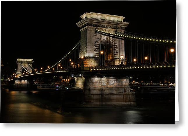 Budapest At Night. Greeting Card by Jaroslaw Blaminsky