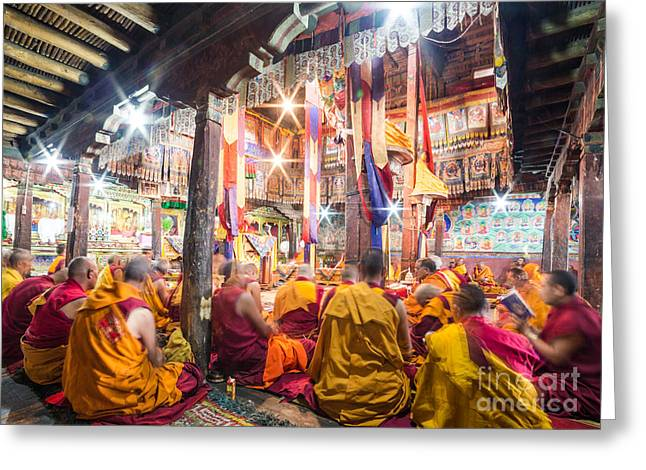 Buddhist Monks Praying In Thiksay Monastery Greeting Card
