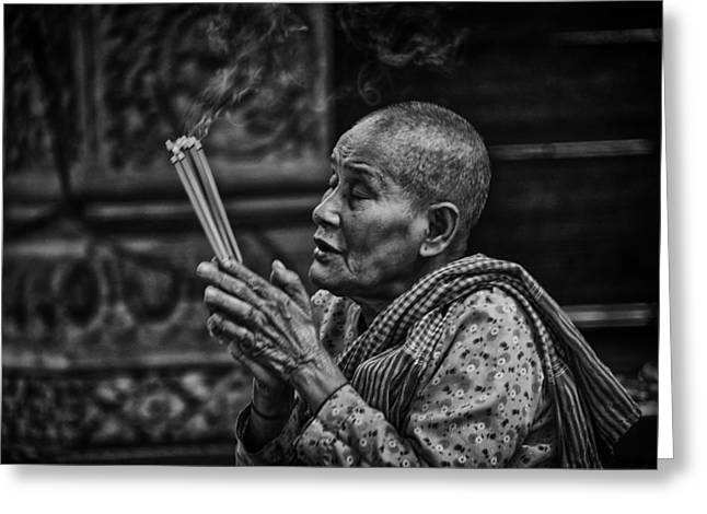 Buddhist Nun Prayers Greeting Card by David Longstreath