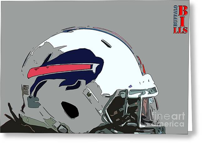 Buffalo Bills Football Team Ball And Typography Greeting Card by Pablo Franchi