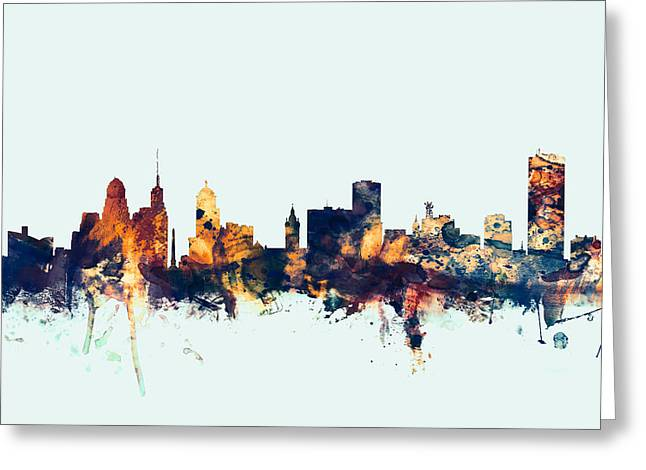 Buffalo New York Skyline Greeting Card by Michael Tompsett