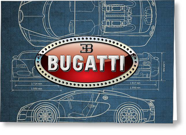 Bugatti 3 D Badge Over Bugatti Veyron Grand Sport Blueprint  Greeting Card by Serge Averbukh