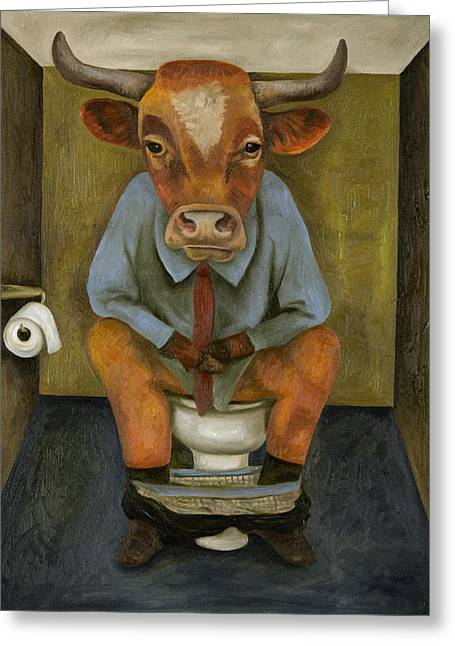 Bull Shitter Greeting Card by Leah Saulnier The Painting Maniac