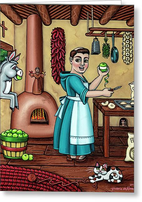 Burritos In The Kitchen Greeting Card by Victoria De Almeida