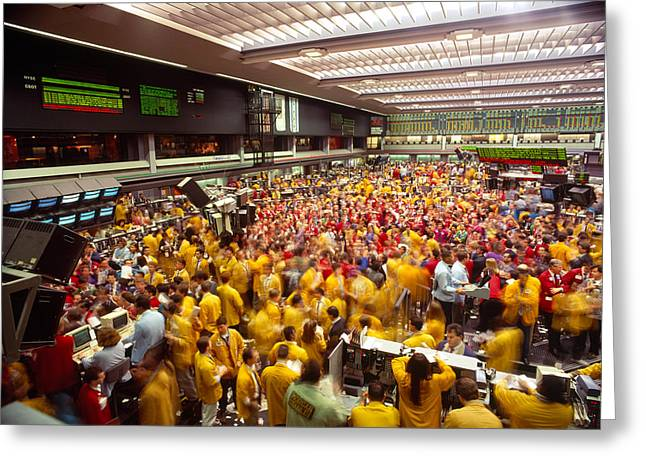 Business Executives On Trading Floor Greeting Card