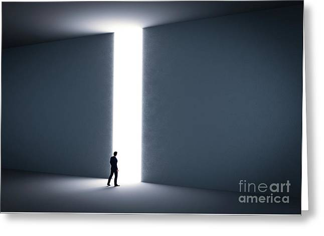 Businessman About To Cross The Entrance To The Light. Greeting Card by Michal Bednarek