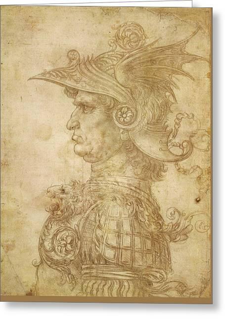 Bust Of A Warrior In Profile Greeting Card by Leonardo da Vinci