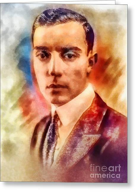 Buster Keaton, Vintage Hollywood Legend Greeting Card by Frank Falcon