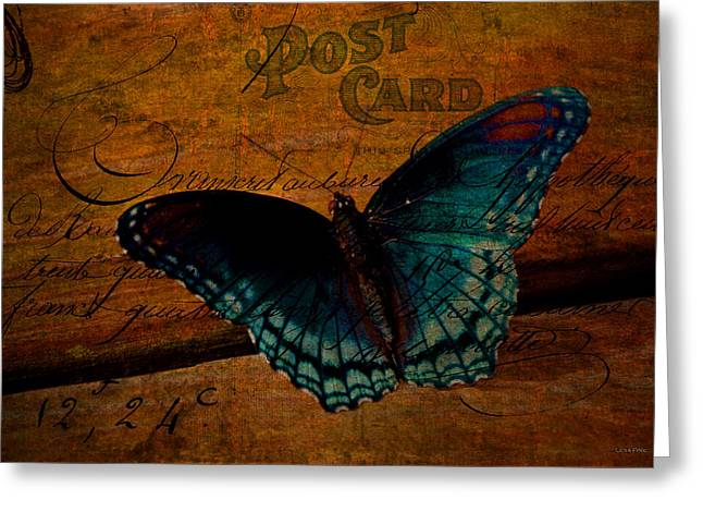 Butterfly Art French Greeting Card by Lesa Fine