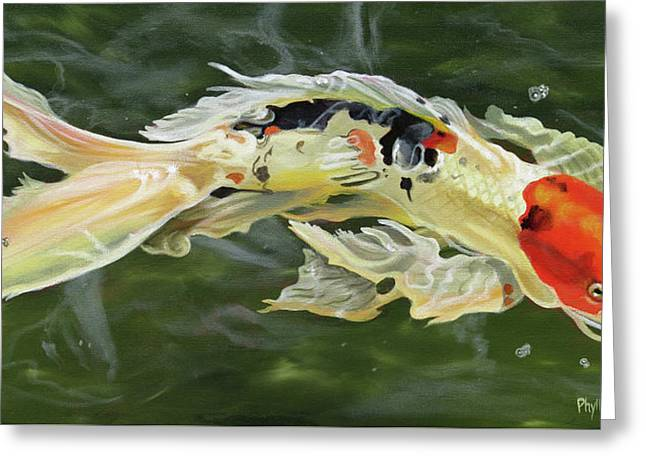 Butterfly Koi Greeting Card by Phyllis Beiser