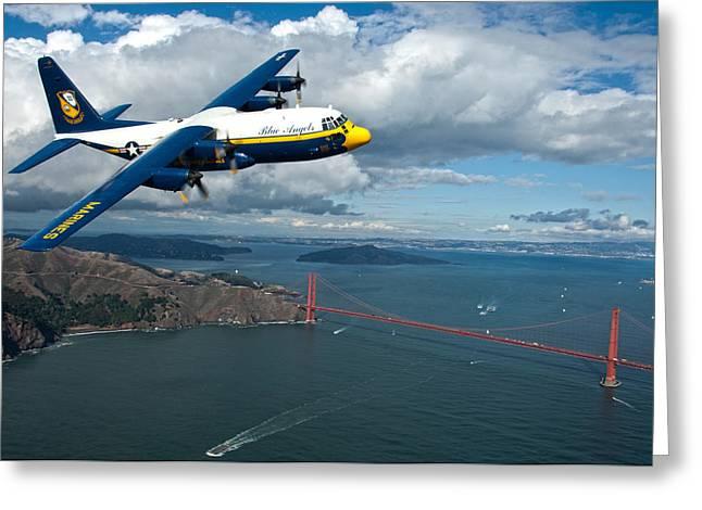 C-130 Hercules Flys Over San Francisco Greeting Card