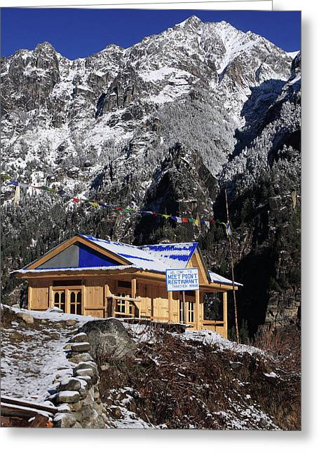 Greeting Card featuring the photograph Meeting Point Mountain Restaurant by Aidan Moran