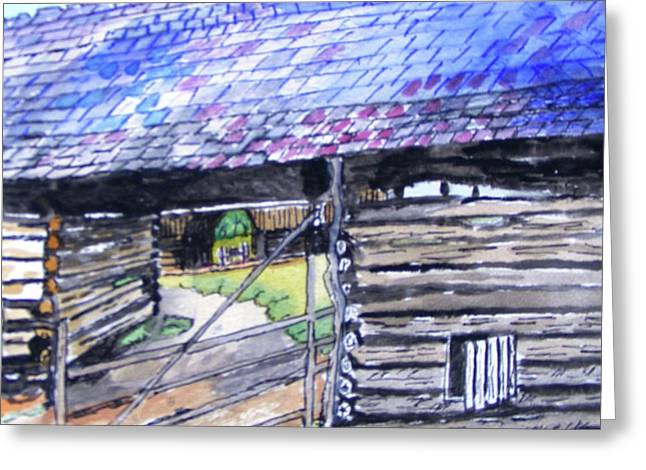 Cades Cove Cantilever Barn Greeting Card by Spencer Hudson