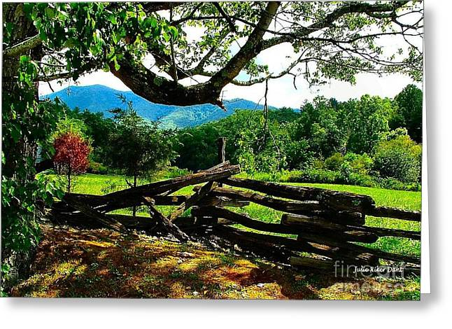 Cade's Cove Split Rail Greeting Card by Julie Dant