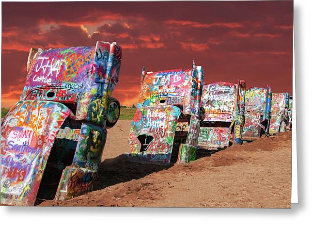 Greeting Card featuring the photograph Cadillac Ranch by Carolyn Dalessandro