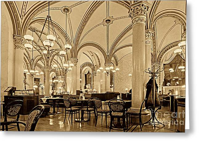 Cafe Central Vienna Greeting Card by Christian Hallweger