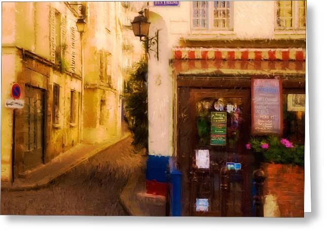 Cafe On The Rue Des Ursins Greeting Card by Mick Burkey