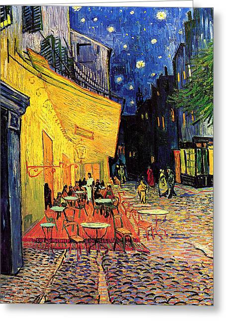 Cafe Terrace Place Du Forum At Night Greeting Card