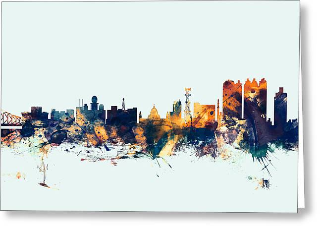 Calcutta Kolkata India Skyline Greeting Card by Michael Tompsett