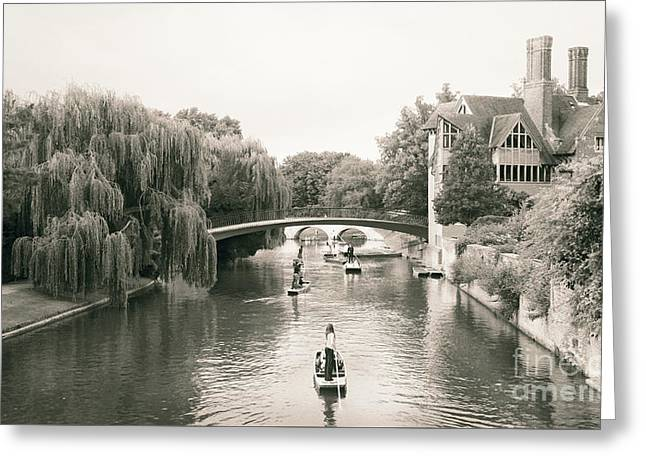 Greeting Card featuring the photograph Cambridge River Punting by Eden Baed