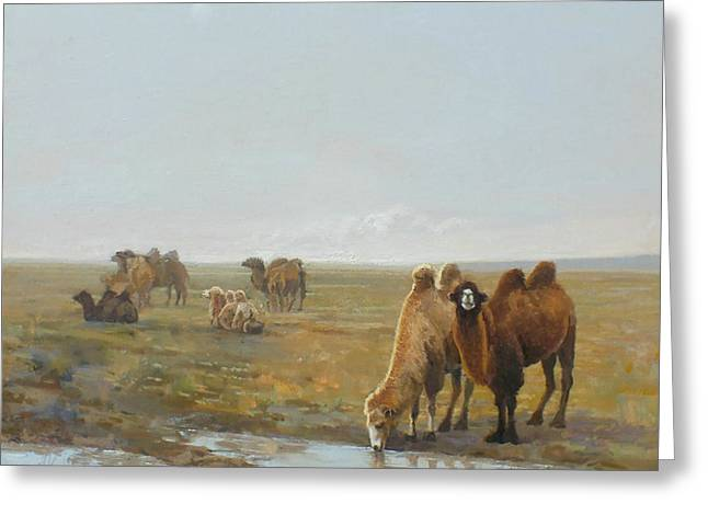 Camels Along The River Greeting Card by Chen Baoyi