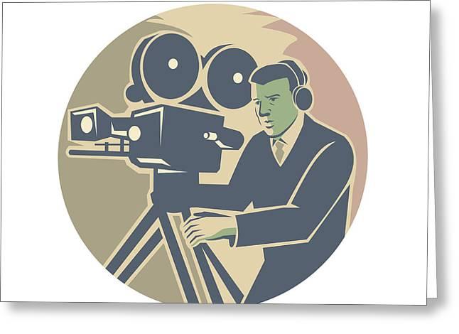 Cameraman Moviemaker Vintage Camera Retro Greeting Card