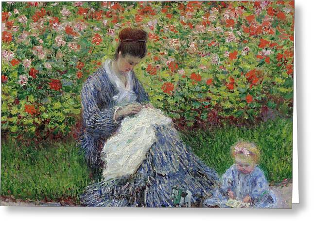 Camille Monet And A Child In The Garden At Argenteuil Greeting Card by Claude Monet