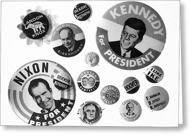 Vice Presidents Greeting Cards - Campaign Buttons Greeting Card by Granger