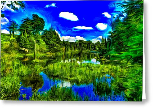 Canadian Lake Greeting Card by Jean-Marc Lacombe