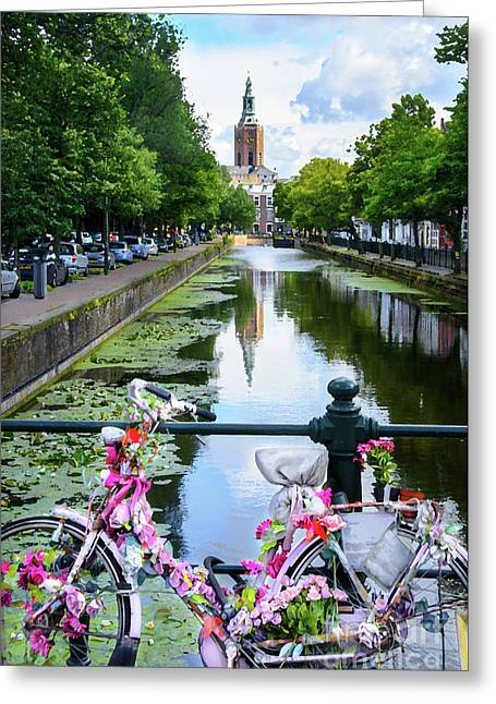 Greeting Card featuring the digital art Canal And Decorated Bike In The Hague by RicardMN Photography