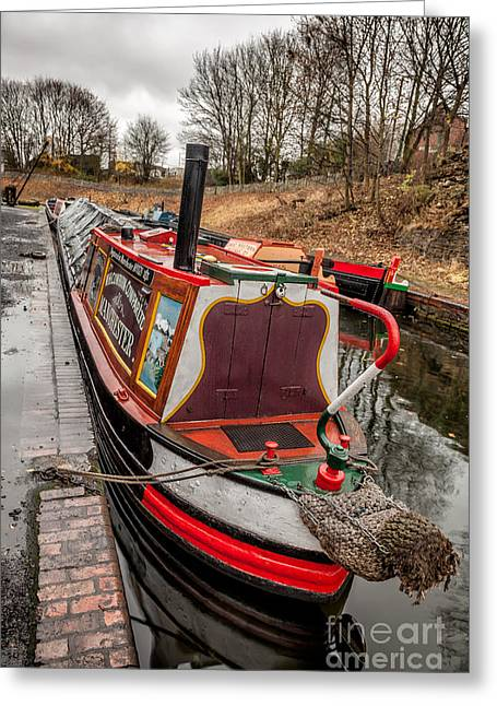 Canal Boat Greeting Card by Adrian Evans