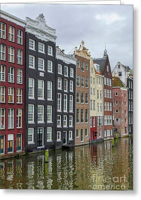 Canal Houses In Amsterdam Greeting Card by Patricia Hofmeester