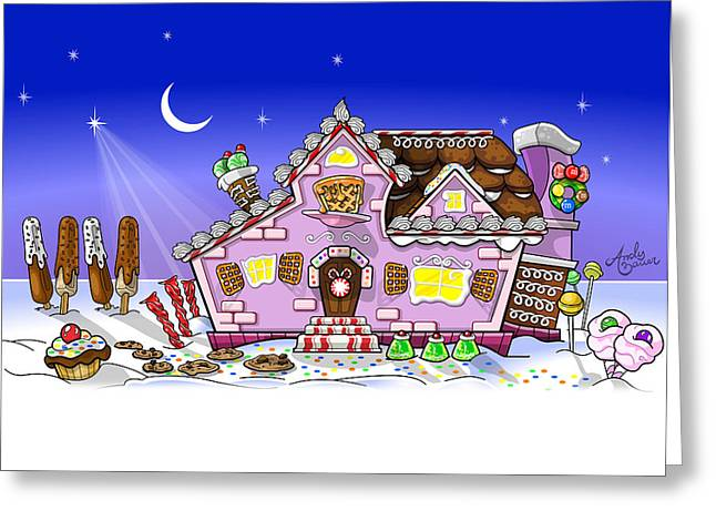 Candy House Greeting Card by Andy Bauer