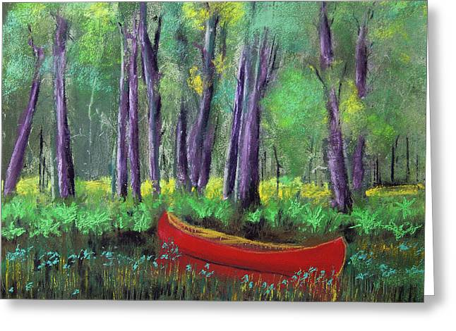 Canoe Among The Reeds Greeting Card