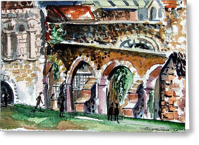 Canterbury England Cloisters Greeting Card by Mindy Newman