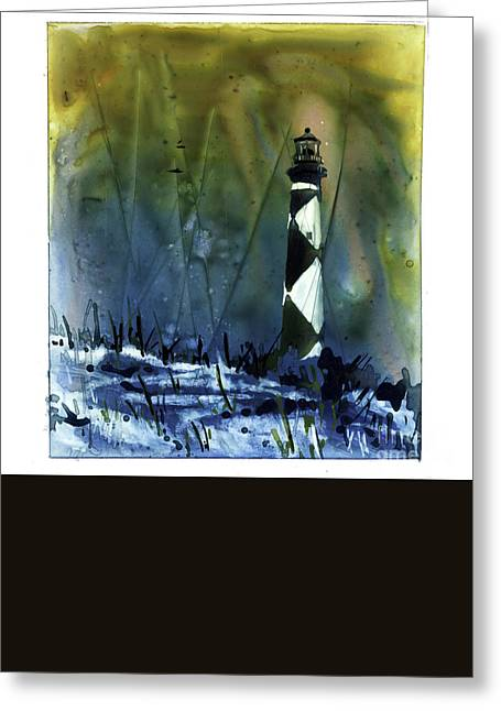 Greeting Card featuring the mixed media Cape Lookout Lighthouse by Ryan Fox
