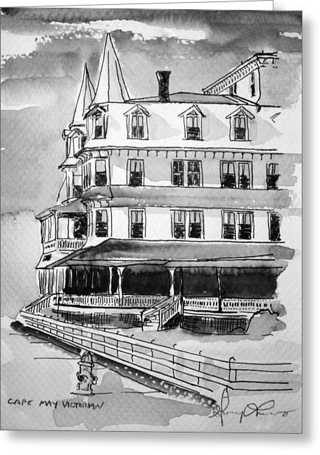 Cape May Victorian B-w Greeting Card by George Lucas