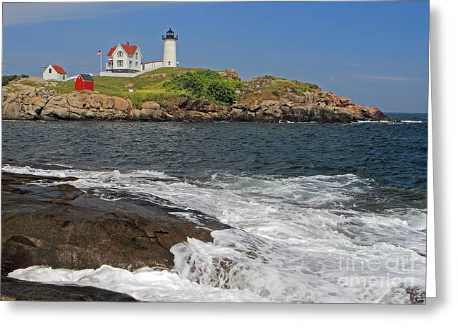 Cape Neddick Light Greeting Card by Jim Beckwith