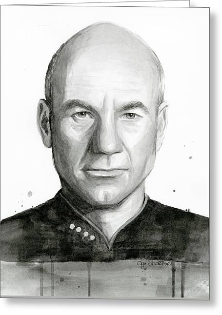 Captain Picard Greeting Card by Olga Shvartsur
