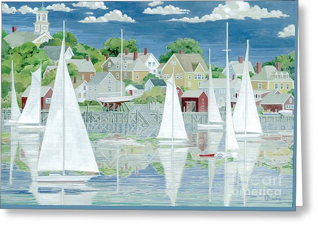 Captain's Harbor Greeting Card by Paul Brent