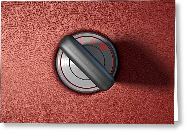 Car Key In Ignition Greeting Card by Allan Swart