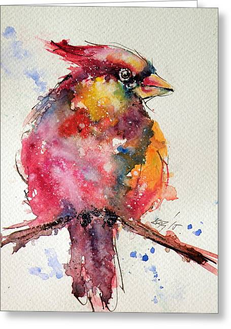 Cardinal Bird Greeting Card by Kovacs Anna Brigitta