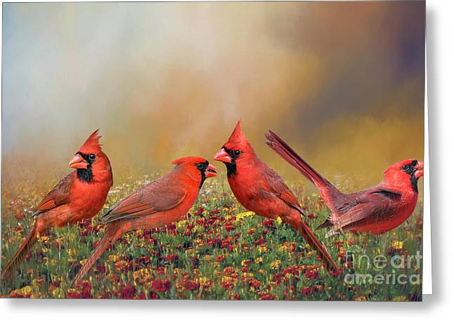 Greeting Card featuring the photograph Cardinal Quartet by Bonnie Barry