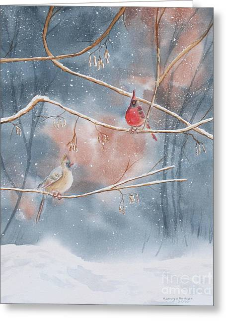 Cardinals In Winter Greeting Card by Kathryn Duncan