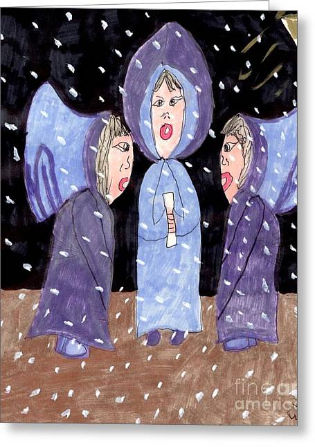 Carolers On A Snowy Night Greeting Card by Elinor Rakowski