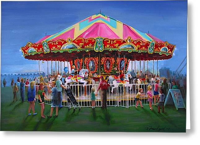 Greeting Card featuring the painting Carousel At Dusk by Oz Freedgood